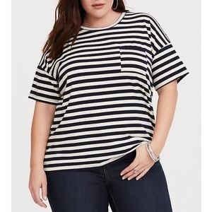 Torrid Stripe Dropped Shoulder Relaxed Fit Top 6X
